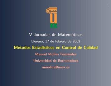 V Jornadas de Matemáticas Métodos Estadīısticos en Control de ...