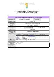 PROGRAMA DE LA ASIGNATURA Curso académico 2008-2009