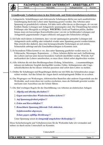 fachpraktischer unterricht – arbeitsblatt - HTL Wien 10