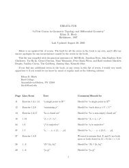 """ERRATA FOR """"A First Course in Geometric Topology and ..."""