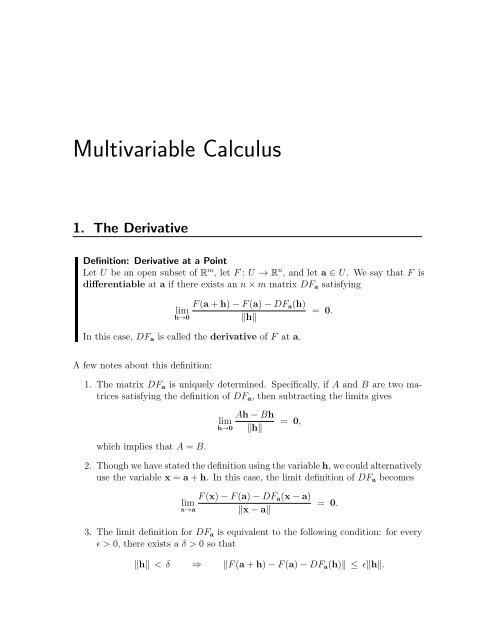 Multivariable Calculus (PDF)