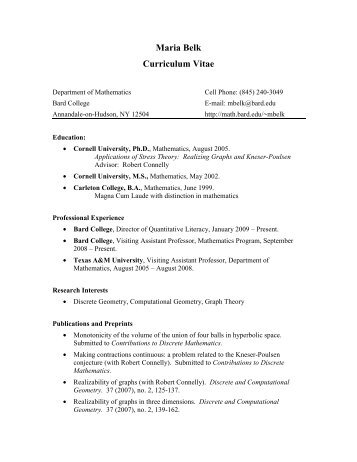 Curriculum vitae michele majer the bard graduate center maria belk curriculum vitae mathematics bard college yelopaper Gallery