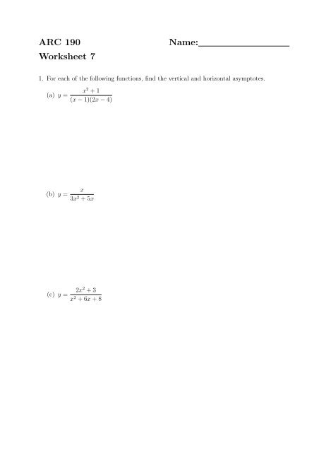 besides  additionally Li likewise vertical and horizontal asymptotes worksheet images   worksheet for moreover  likewise Graphing Rational Functions  Copyright © by Houghton Mifflin  pany besides Quiz   Worksheet   Horizontal and Vertical Asymptotes   Study furthermore Graphing Rational Functions Worksheet 1 Horizontal asymptotes as well Solved  Find The Vertical And Horizontal Asymptotes For Th in addition RF 4  Holes  Asymptotes  and Graphs   Mathops likewise Unled also Asymptotes Worksheet   Asymptote   Algeic Geometry besides ACT Cl Openers  ppt download as well  additionally  together with ARC 190 Name  Worksheet 7. on vertical and horizontal asymptotes worksheet