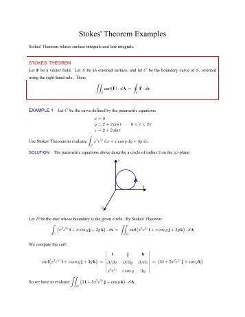 Example Exam Problems 1. a) State Stokes' theorem, defining each ...