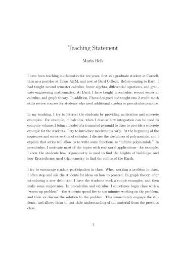 Writing a teaching statement mathematics