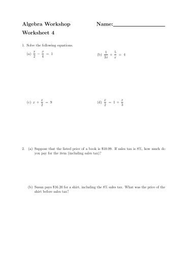 M117 ? Algebra 1 Name Chapter 9 Review Worksheet 11 ...