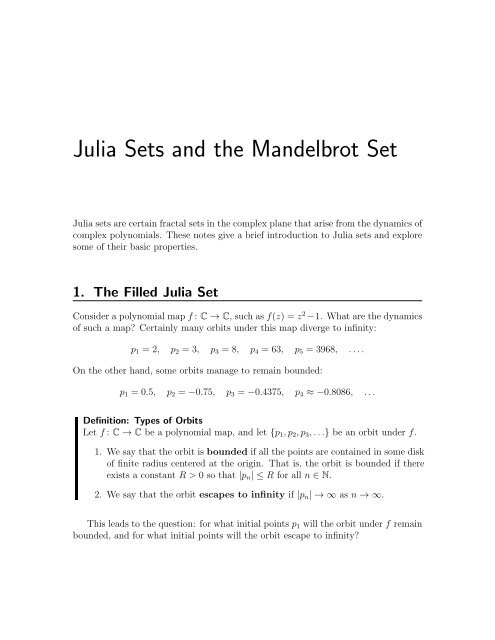 Notes – Julia Sets and the Mandelbrot Set (PDF)
