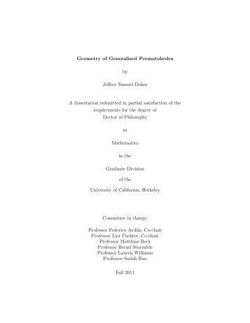 Geometry of Generalized Permutohedra - Mathematics - University ...