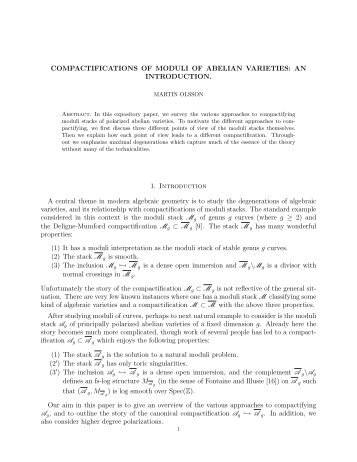 COMPACTIFICATIONS OF MODULI OF ABELIAN ... - Mathematics