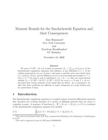 Moment Bounds for the Smoluchowski Equation and ... - Mathematics