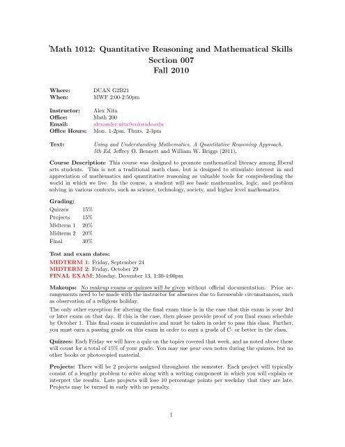 Math 1012 Quantitative Reasoning And Mathematical Skills
