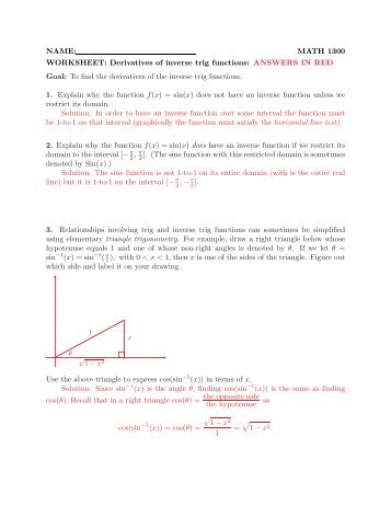 Math 1300 - 401 Derivative Practice: 3.1 - 3.2 Name: Solutions In ...