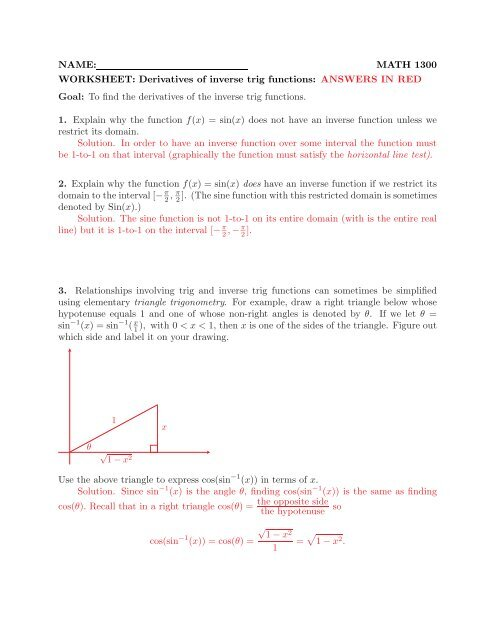 NAME: MATH 1300 WORKSHEET: Derivatives of inverse trig functions
