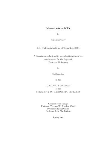 Minimal Sets in ACFA (PhD thesis) - Mathematics - University of ...
