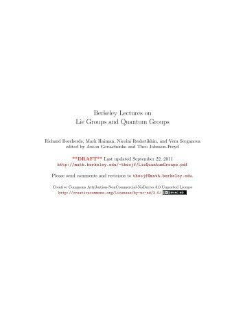 Lectures in Lie Groups and Quantum Groups - Mathematics