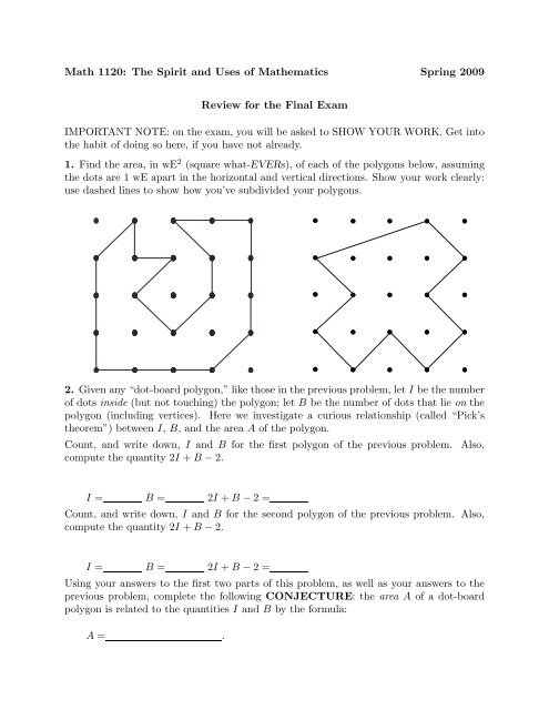 Math 1120: The Spirit and Uses of Mathematics Spring 2009 Review