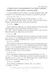 1. Funkce dvou a více proměnných. Úvod, limita a spojitost. Definiční ...
