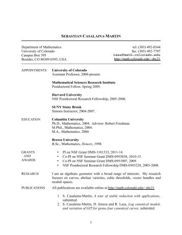 Curriculum Vitae - Department of Mathematics