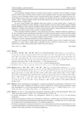 Úvod do algebry, zejména lineární Řešení cvičení Vážení studenti ...