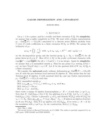 """Galois deformation and L-invariant"", by Haruzo Hida (5 pages [PDF])"