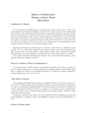 writing your senior thesis What is a senior thesis as late as the beginning of your senior of the study your advisor will provide guidance on writing the proposalthe.