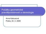 Počátky geometrické pravděpodobnosti a stereologie