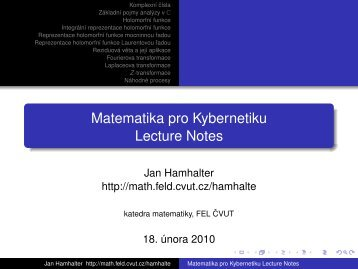 Lecture notes 2009 - archive (slides), pdf.file - Katedra matematiky ...