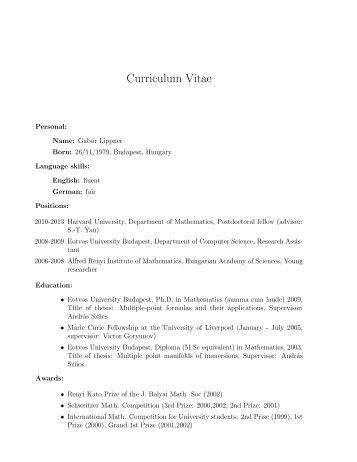 Curriculum Vitae - Department of Mathematics - Harvard University