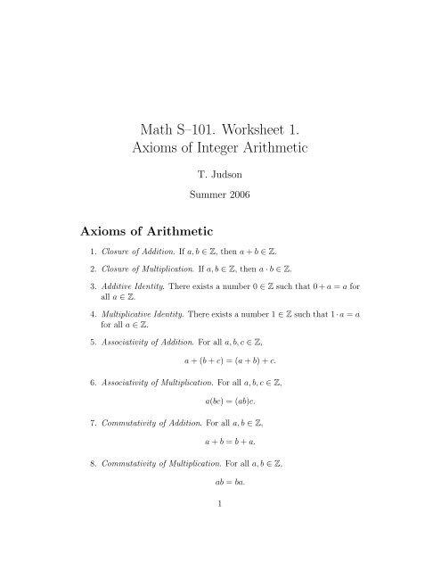 Math S?101  Worksheet 1  Axioms of Integer Arithmetic