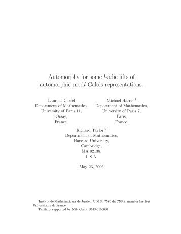 Automorphy for some l-adic lifts of automorphic modl Galois ...