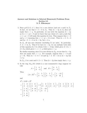 Answers and Solutions to Selected Homework Problems From ...