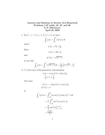 "Answers and Solutions to Section 13.2 Homework Problems 1""27 ..."