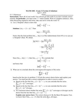 MATH 2202 - Exam 3 (Version 2) Solutions April 7, 2010 S. F. ...