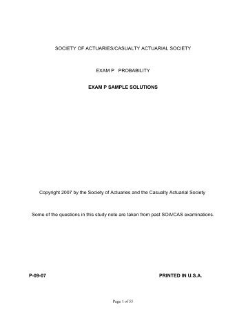 Society of actuaries/casualty actuarial society exam p.
