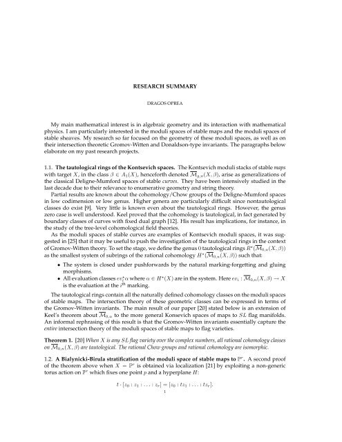 RESEARCH SUMMARY My main mathematical interest is in