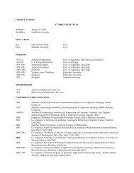 Curriculum Vitae - Department of Mathematics - Stanford University