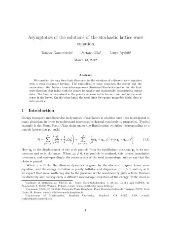 Asymptotics of the solutions of the stochastic lattice wave equation
