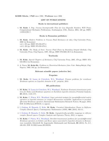 KOHR Mirela / PhD since 1996 / Professor since 2006 LIST OF ...