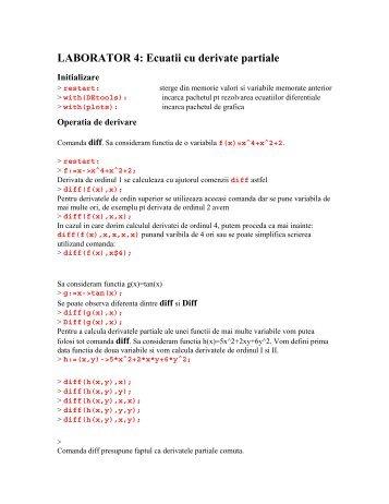 Ecuatii cu derivate partiale.