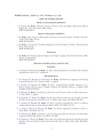KOHR Gabriela / PhD since 1996 / Professor since 2006 LIST OF ...