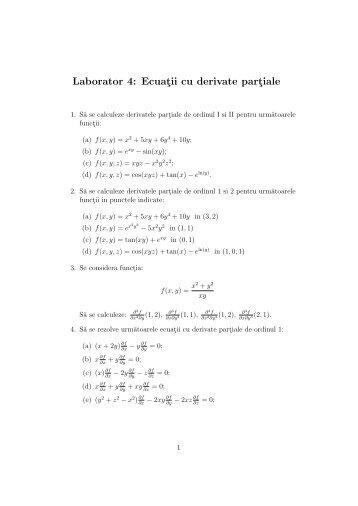 Laborator 4: Ecuatii cu derivate partiale