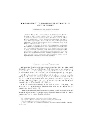 KIRCHBERGER–TYPE THEOREMS FOR SEPARATION BY ...