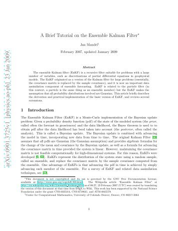 A Brief Tutorial on the Ensemble Kalman Filter