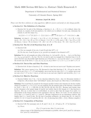 Math 3000 Section 003 Intro to Abstract Math Homework 8