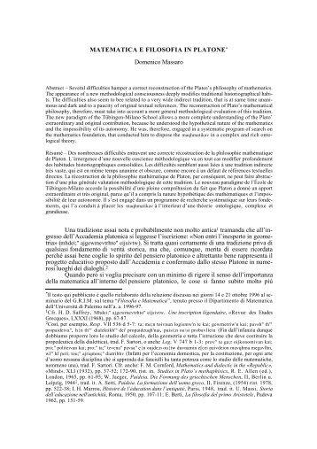 Matematica e Filosofia - Dipartimento di Matematica e Informatica ...