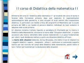 Il corso di Didattica della matematica II - Dipartimento di Matematica ...