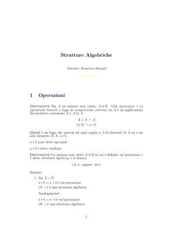 Strutture Algebriche 1 Operazioni