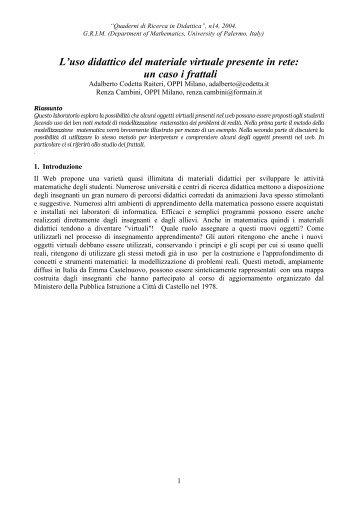 Quaderni di Ricerca in Didattica - Dipartimento di Matematica e ...