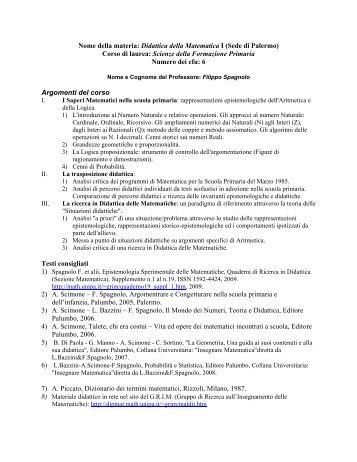 Nome della materia: Didattica della Matematica I - Dipartimento di ...