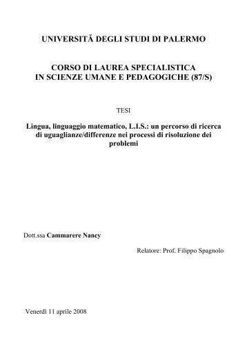 Lingua, linguaggio matematico, L.I.S. - Dipartimento di Matematica e ...
